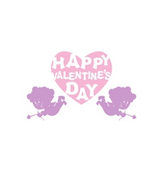 Valentines day silhouette cupid and heart emblem vector