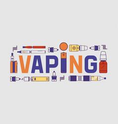 Vapor banner vaping device and modern vector