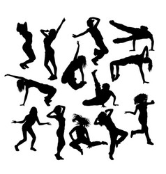 Various styles of hip hop dancer silhouette vector