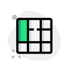 Vertical right content cells in square block vector