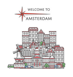 welcome to amsterdam poster in linear style vector image