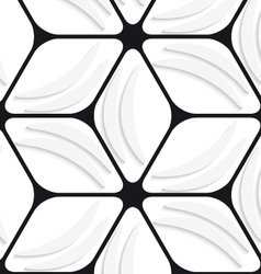 White banana shapes and black hexagon net seamless vector image