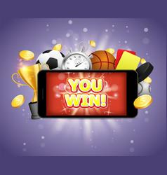 winner sports betting poster banner design vector image