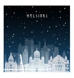 winter night in helsinki night city in flat style vector image