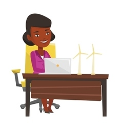 Woman working with model wind turbines vector