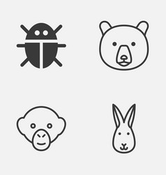zoo icons set collection of beetle baboon bunny vector image vector image