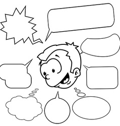 black and white little boy with set of speech vector image vector image
