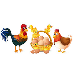 chickens and little chicks with basket of eggs vector image vector image