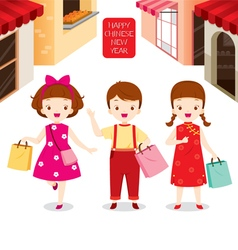 Chinese New Year Children Shopping Together vector image vector image
