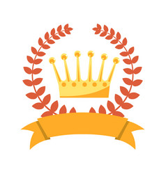 Laurel wreath gold kings crown and empty ribbon vector