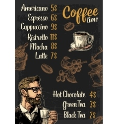 Restaurant or cafe menu coffee drinck with price vector image vector image