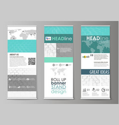 roll up banner stands abstract geometric design vector image