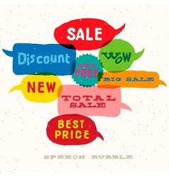 Sale Interactive multicolored speech bubbles vector image vector image