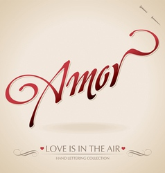 Amour hand lettering vector