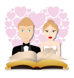 get married couple bible hearts background card vector image