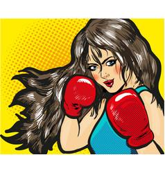 girl boxing pop art comic stock vector image
