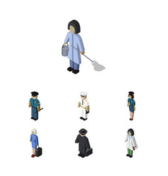 Isometric person set of officer doctor seaman vector