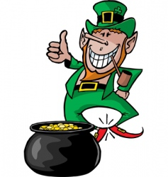leprechaun with pot vector image