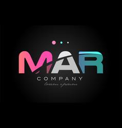 mar m a r three letter logo icon design vector image vector image