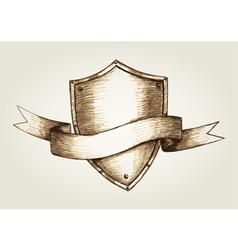 Sketch of a shield emblem vector image