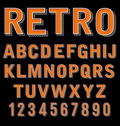 vintage 3 dimensional typeset retro font vector image vector image