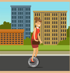 Businesswoman riding on one wheel electric scooter vector