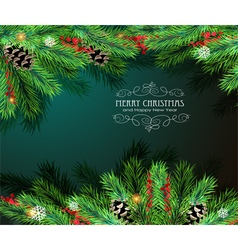Christmas tree branches and cones vector image vector image