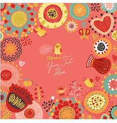 Floral background with funny birds vector image vector image