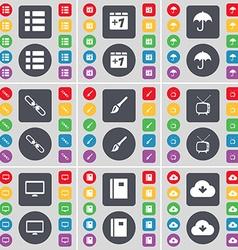 List Plus one Umbrella Link Brush Retro TV Monitor vector image