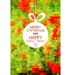 Merry Christmas ball card abstract green vector image