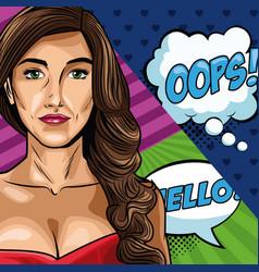 woman with bubbles pop art vector image