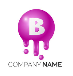 b letter splash logo purple dots and bubbles vector image