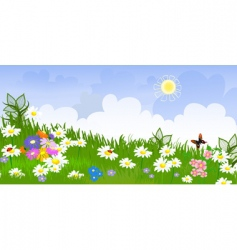 flower meadow panorama vector image
