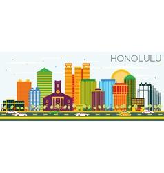 Honolulu Skyline with Color Buildings vector image