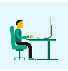 man working at computer vector image