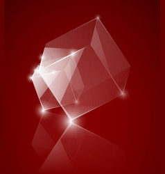 red glass cube background vector image vector image