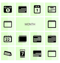 14 month icons vector