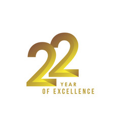 22 year excellence template design vector