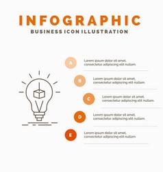 3d cube idea bulb printing box infographics vector