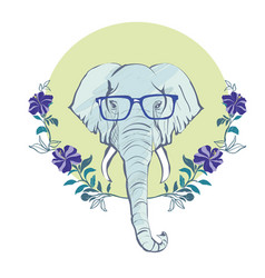 Animal portrait elephant in pink glasses pink vector