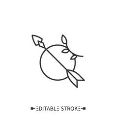 arrow and moon line icon editable vector image
