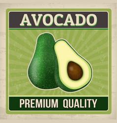 Avocado vintage grunge retro poster vector