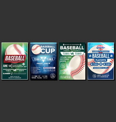 Baseball poster set design for sport bar vector