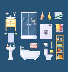 bathroom equipment set modern shower stall vector image