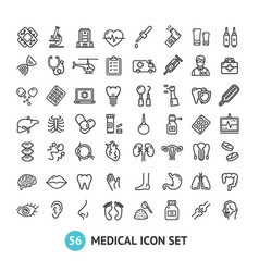 Big medical signs black thin line icon set vector