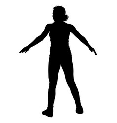 black silhouettes dancing on white background vector image