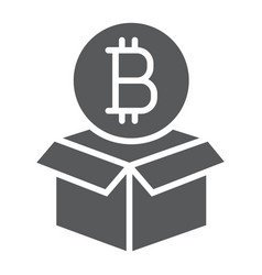 block reward glyph icon bitcoin and money vector image