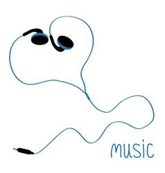 Blue earphones cord in shape heart flat design vector