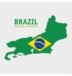 Brazil rio de janeiro map and flag vector