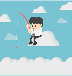 business sitting fishing on cloud and plans vector image